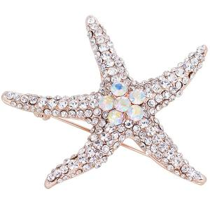 Alloy Starfish Design Rhinestone Inlaid Broosh Pin -