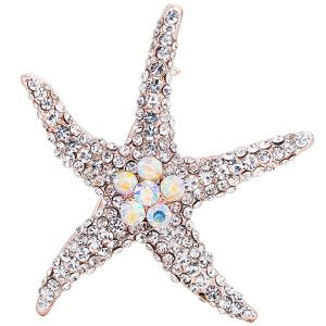 Alloy Starfish Design Rhinestone Inlaid Broosh Pin - Argent