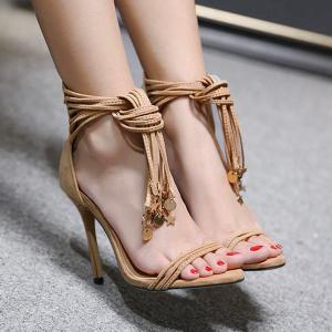 Pendant Tassel High Heel Sandals - APRICOT 38