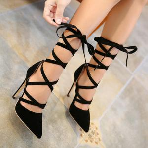 Pointed Toe Stiletto Heel Gladiator Pumps -