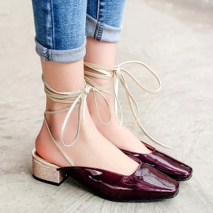 Square Toe Lace Up Mules Shoes - Wine Red - 40