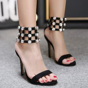 Rhinestones Double Belt Buckle Sandals