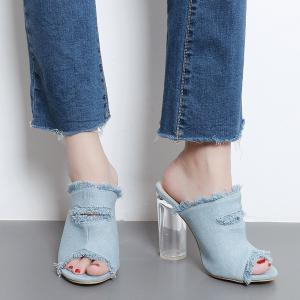 Crystal Heel Denim Slippers - Light Blue - 39