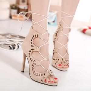 Laser Cut High Heel Sandals - Apricot - 38