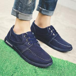 Tie Up Denim Casual Shoes - Deep Blue - 40