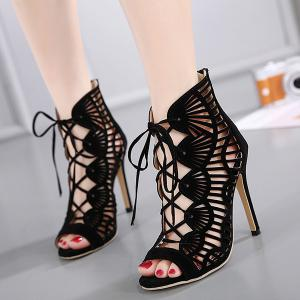Zip Back Cutout High Heel Sandals - Black - 40