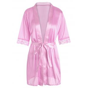 Satin Lace Trim Wrap Sleepwear with Belt - Pink - M