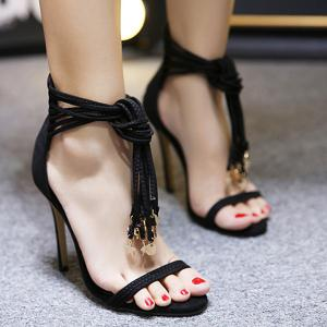 Pendant Tassel High Heel Sandals - Black - 40