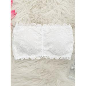Padded Lace Lingerie Bandeau Bra - White - One Size