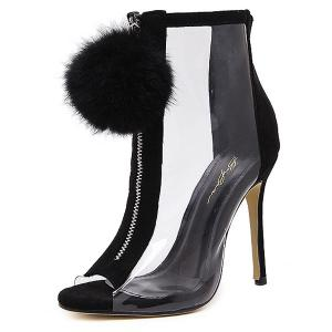 Stiletto Heel Transparent Peep Toe Boots - BLACK 38