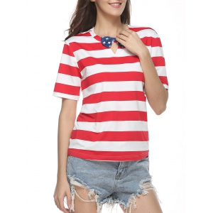 Bow Tie Embellished Keyhole Neck Striped T-Shirt - Red - Xl