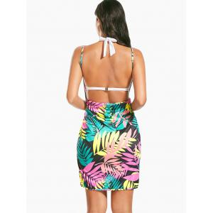 Colorful Palm Leaf Print Short Cover Up Dress - FLORAL ONE SIZE