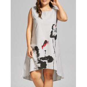 Plus Size Ink Painted High Low Sleeveless Tank Dress