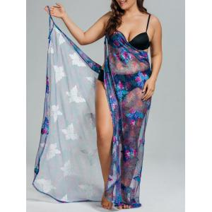 Tropical Butterfly Plus Size Sarong Cover Up Dress
