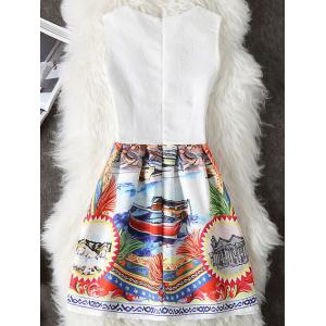Scenery Print Short Dress - WHITE S