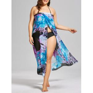 Convertible Chiffon Printed Plus Size Cover Up Dress