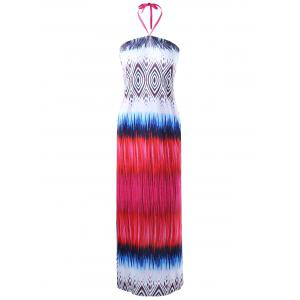Tribal Halter Neck Maxi Dress - Colormix - One Size
