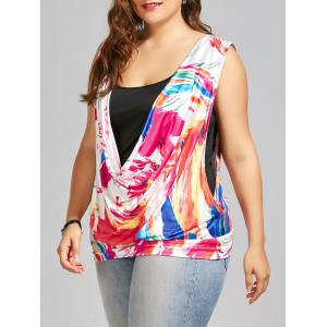 Plus Size Sleeveless Printed Top with Camisole