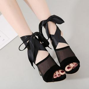 High Heel Sandals with Ribbon Tie -