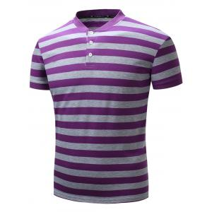Color Block Rib Panel Stripe Polo T-shirt - Purple - S