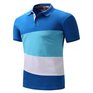 Color Block Panel Short Sleeve Polo T-shirt