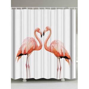 Thicken Fabric Shower Curtain with Flamingo Print - White - W71 Inch * L79 Inch