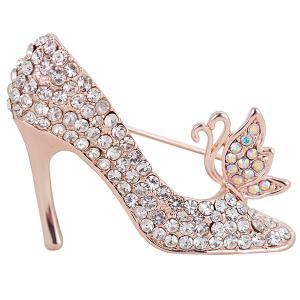 Rhinestone Butterfly High-heeled Shoe Design Brooch - Silver - 39
