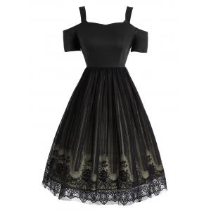 Lace Panel Vintage Fit and Flare Dress - Black - S