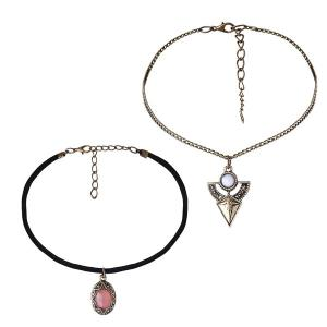 Vintage Faux Gemstone Geometric Necklace Set
