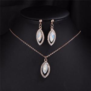 Rhinestone Faux Gem Necklace and Earring Set - GOLDEN