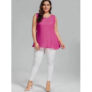 Plus Size Chiffon Lace Panel Bowknot Embellished Tank Top - ROSE RED 3XL
