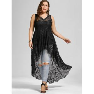 See Through Lace High Low Plus Size Top -