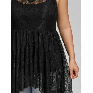 See Through Lace High Low Plus Size Top - BLACK 3XL