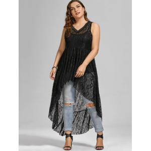 See Through Lace High Low Plus Size Top - BLACK 5XL