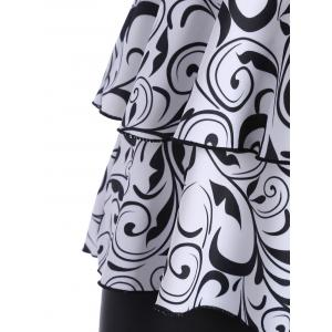 Plus Size Flounce Printed Blouson Tankini Set - WHITE AND BLACK 4XL