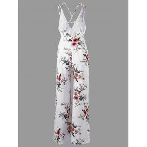 Low Cut Tiny Floral Criss Cross Jumpsuit - WHITE XL