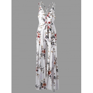 Low Cut Tiny Floral Criss Cross Jumpsuit - White - 2xl