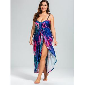 Tropical Leaf Printed Plus Size Cover Up Dress -
