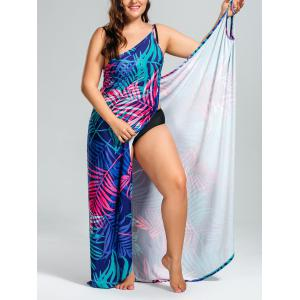 Tropical Leaf Printed Plus Size Cover Up Dress - Colormix - 5xl