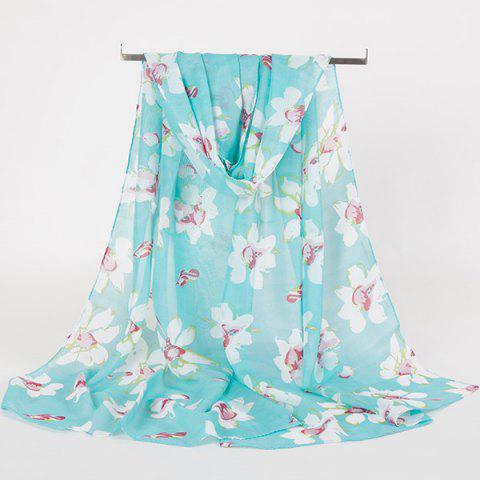 Gossamer Wash Painting Flowers Printing Long Scarf - Blue Green - 2xl