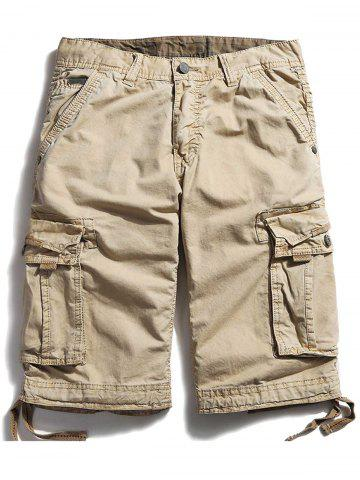 Trendy Pockets Zipper Fly Straight Cargo Shorts