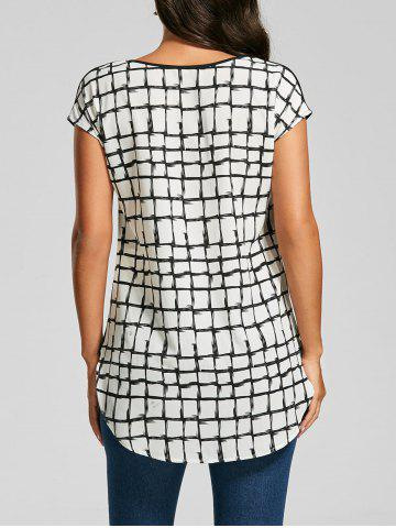 V Neck Back Plaid T-shirt - White And Black - L