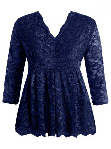 Stylish V-Neck Half Sleeve Plus Size Lace Women's Blouse - Deep Blue - 4xl