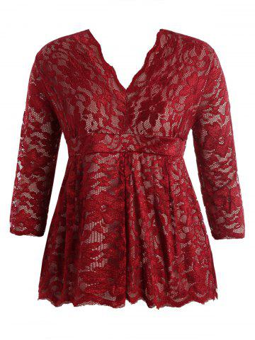 Fancy Stylish V-Neck Half Sleeve Plus Size Lace Women's Blouse WINE RED XL