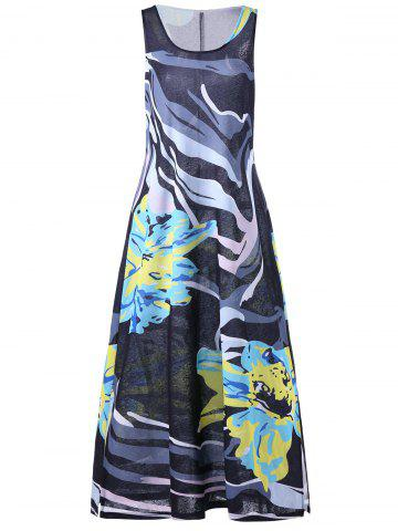 Online Flower Plus Size Long Tank Dress