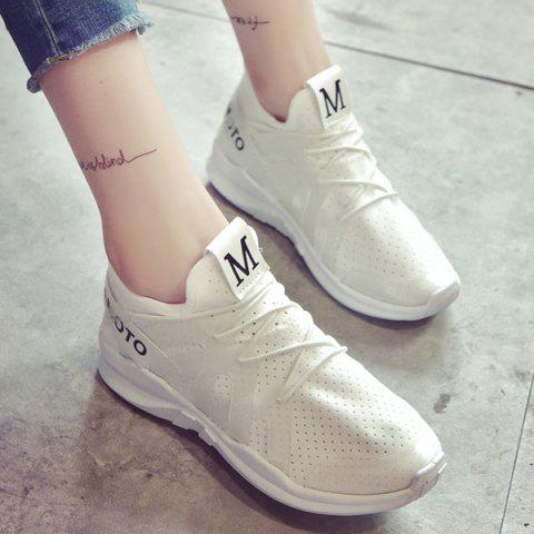 Shop Letter Print Breathable Sneakers - 39 WHITE Mobile