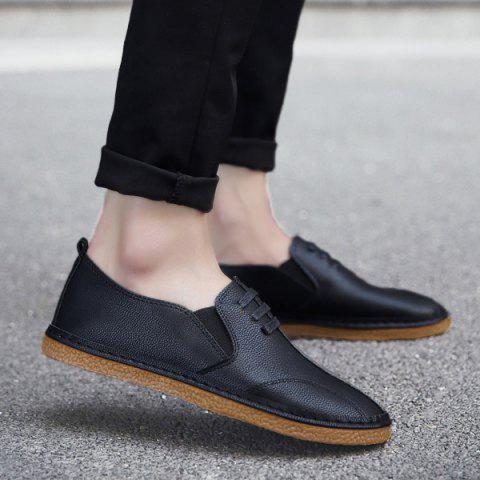 Trendy Faux Leather Elastic Band Casual Shoes