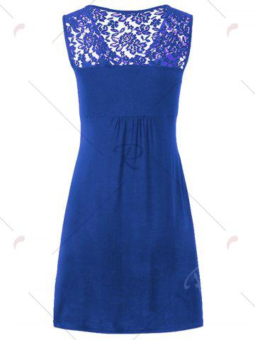 Discount Twist Front Lace Panel Sleeveless Dress - XL BLUE Mobile