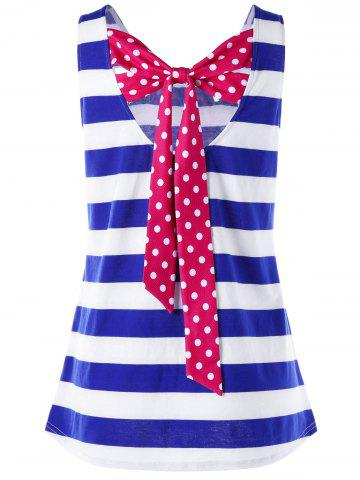 Back Bowknot Stripe Tank - Blue Stripe - 2xl