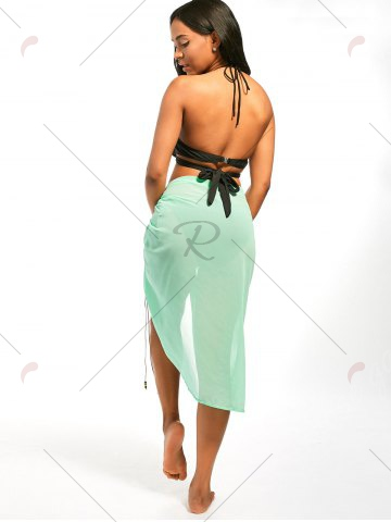 Trendy Beaded Rope Strap Chiffon Cover Up Dress - S LIGHT GREEN Mobile